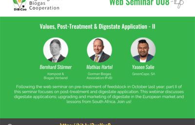 'Values, Post-Treatment & Digestate Application – II' DiBiCoo Web Seminar Series 08